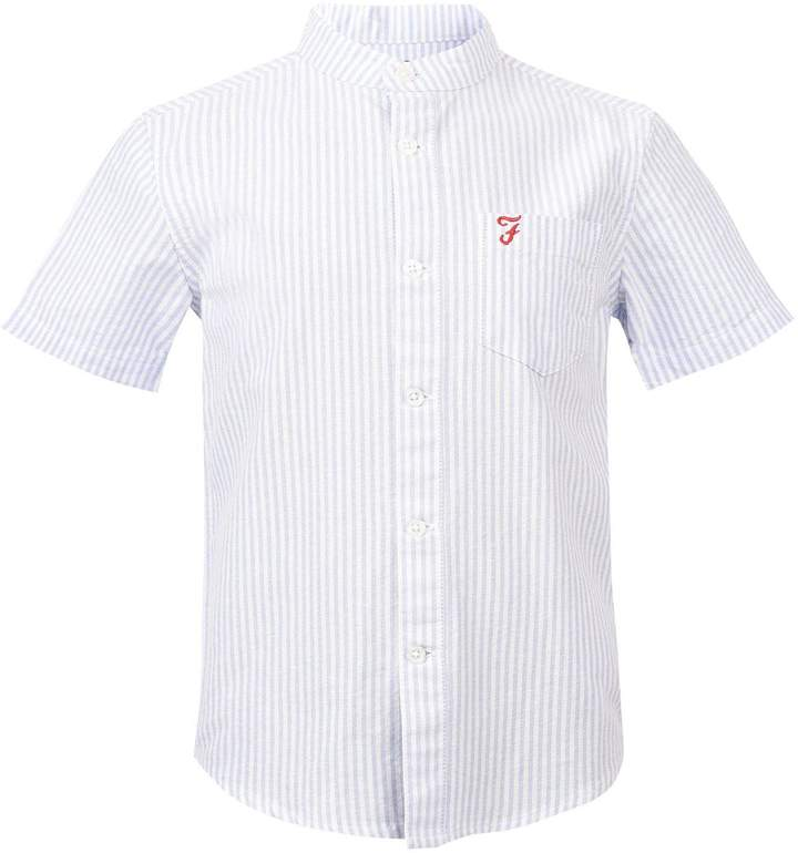 Boys Short Sleeve Vertical Stripe Oxford Shirt