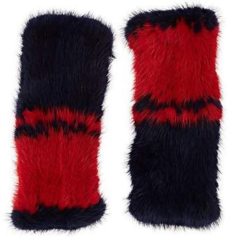 Barneys New York Women's Knitted Mink Fur Fingerless Mittens - Blue
