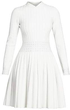 Alaia Women's Pleated Knit Wool-Blend Sweater Dress