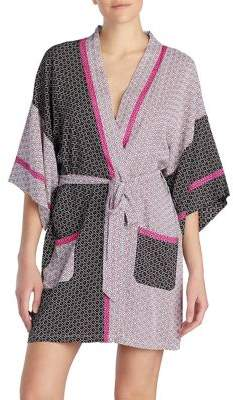 Kensie Patch Print Short Robe