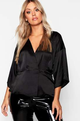 boohoo Plus Kimono Sleeve Button Detail Satin Top