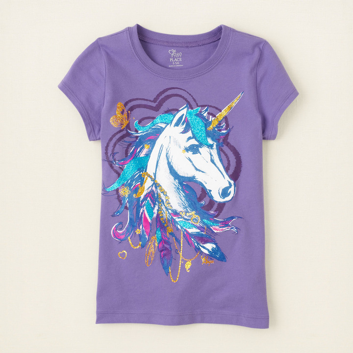 Children's Place Unicorn feathers graphic tee