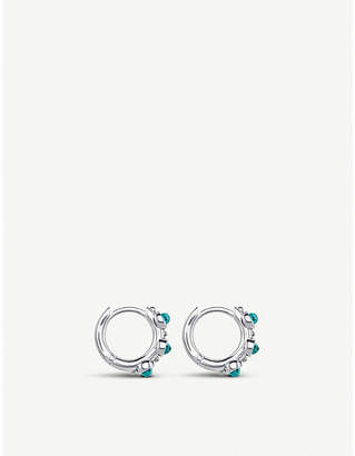 Thomas Sabo Hinged sterling silver and turquoise hoop earrings