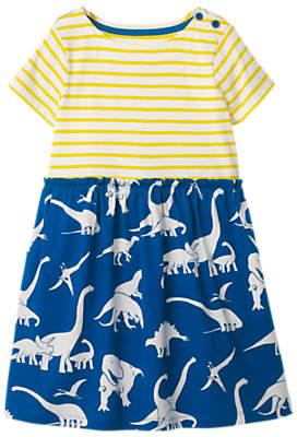 Boden Mini Girls' Hotchpotch Dinosaur Stripe Dress, Blue