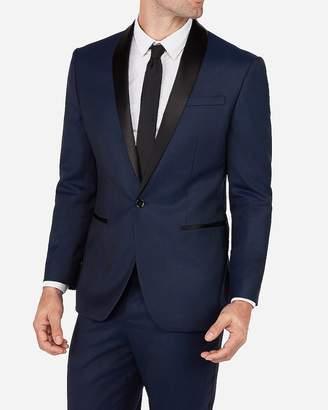 Express Classic Navy Dobby Wool-Blend Tuxedo Jacket