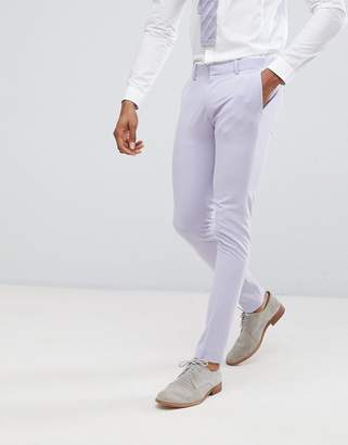 Asos Design Wedding Super Skinny Fit Suit Pants In Lilac