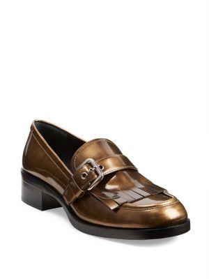 pradaPrada Kiltie Buckle Metallic Leather Loafers