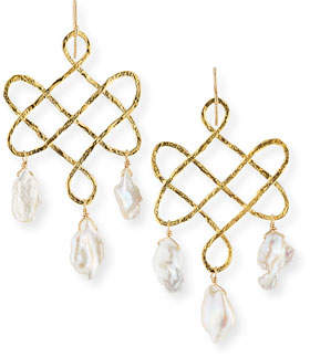 Devon Leigh Baroque Pearl Trellis Drop Earrings