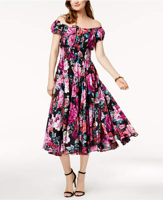 INC International Concepts I.n.c. Printed Smocked Dress, Created for Macy's