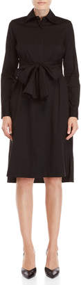 Per Se Black Visionaire Tie-Waist Shirtdress