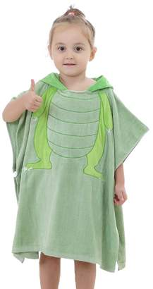 Sunshinetimes Childrens Hooded Beach Bath Towel Kids Poncho Soft Cotton Bathrobe, Fits for Girls Boys 2-7 Years old