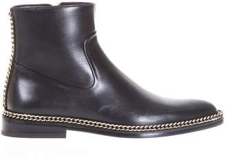 Lanvin Chain Trimming Leather Ankle Boots