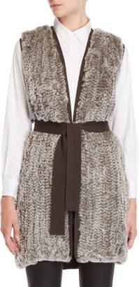 Halston Real Fur Belted Vest