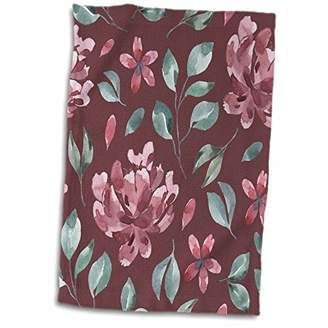 3dRose Anne Marie Baugh - Patterns - Pretty Watercolor Burgundy Flowers and Teal Leaves Pattern - 15x22 Hand Towel (TWL_274064_1)