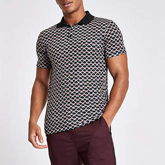 River Island Mens Green muscle fit geo print polo shirt
