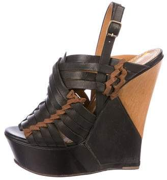 Lanvin Leather Platform Wedge Sandals
