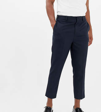 Noak drop crotch tapered cropped smart pants in navy