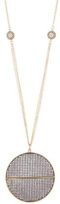 Freida Rothman Lattice Motif Pave Circle Pendant Necklace