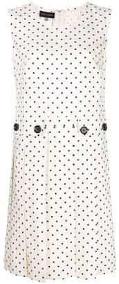 Talbot Runhof polka dot pleated dress