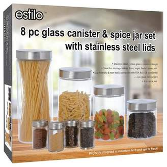 Estilo 8 Piece Glass Canisters And Spice Jar Set With Stainless Steel Screw On Lids