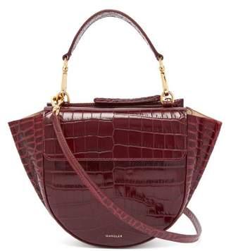 Hortensia Wandler Mini Crocodile Effect Leather Bag - Womens - Burgundy