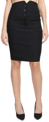 TheMogan Women's Tuxedo High Waisted Stretch Woven Pencil Midi Skirt