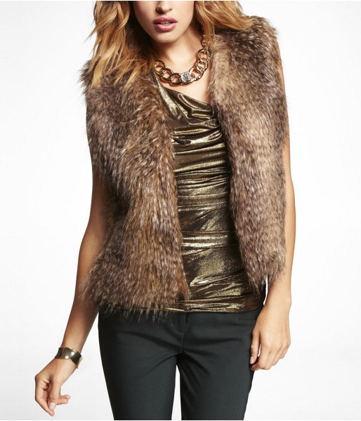Feathered Faux Fur Vest