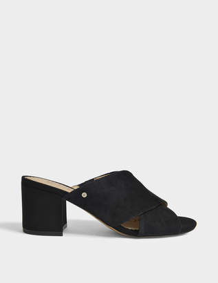 Sam Edelman Stanley Suede Cross Front Mule Shoes in Black Kid Suede
