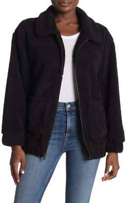 Andrew Marc Front Zip Faux Shearling Jacket