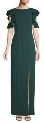 Aidan Mattox Cold Shoulder Column Dress