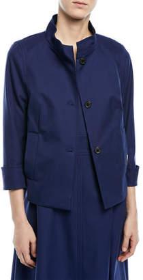 Escada Button-Front 3/4-Sleeve Cotton Pique Jacket