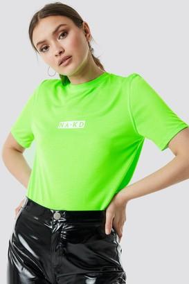 NA-KD Na Kd Neon Logo Tee Neon Green