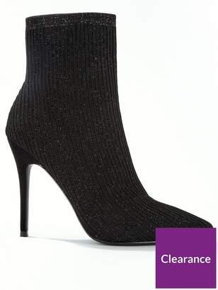 Miss Selfridge Rib Stretch Sparkle Pointed Stiletto Ankle Boots - Black