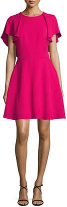 Monique Lhuillier Flutter-Sleeve Tie-Back Fit & Flare Dress, Magenta