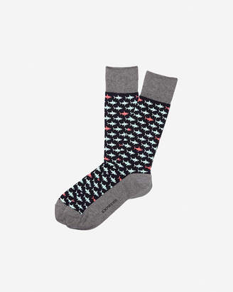 Express Shark Print Dress Socks