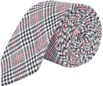 Burton Mens Grey and Red Contrast Checked Tie