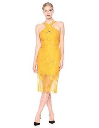 BCBGMAXAZRIA Azria Women's Crisscross Abstract Lace Dress,2