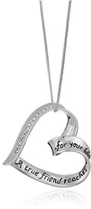 "Sterling Diamond ""A True Friend..."" Heart Pendant Necklace (1/10 cttw"