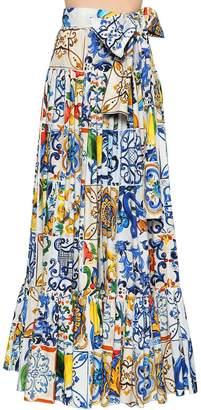 Dolce & Gabbana Maiolica Printed Poplin Maxi Skirt