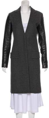 Alexander Wang Leather-Accented Wool Coat