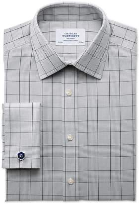 Charles Tyrwhitt Extra Slim Fit Non-Iron Prince Of Wales Check Grey and Black Cotton Dress Shirt Single Cuff Size 16.5/34