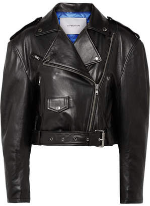 Pushbutton - Leather Biker Jacket - Black