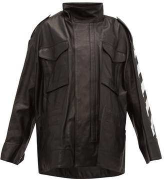 Off-White Off White Diag Woman Print Leather Jacket - Womens - Black