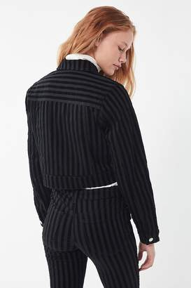 Urban Outfitters Gia Striped Velvet Cropped Jacket