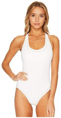 MICHAEL Michael Kors Luxe Studs Cross-Back One-Piece Swimsuit w/ Studs Removable Soft Cups Women's Swimsuits One Piece