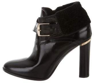Burberry Shearling-Trimmed Leather Booties