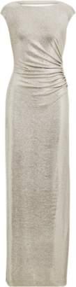 Ralph Lauren Metallic Jersey Open-Back Gown