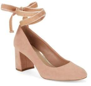 424 Fifth Geila Suede Lace-Up Heels