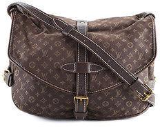 Louis VuittonLouis Vuitton Brown Canvas Mini Lin Leather Trim Mini Saumur Handbag BY4550 MHL