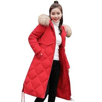 AMSKY Shirts for Women Clearance,Women Winter Warm Coat Faux Fur Hooded Thick Warm Slim Jacket Long Overcoat,Jackets & Coats
